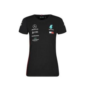 NEW 2019 Mercedes AMG F1 Ladies WOMENS Team Lewis Hamilton T Shirt Top Tee BLACK