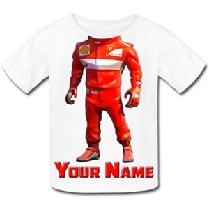 Babysmiles Personalised Racing Driver F1 Body Kids T-Shirt Age 11-12 Chest Size 86cm White