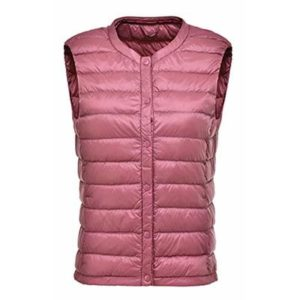 Autumn and Winter Slim Slim Short Fashion Down Jacket Female Vest high Light Ladies Down Round Neck Vest Jacket Women Pink