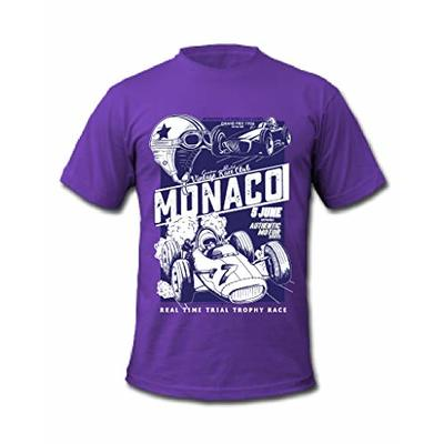 Cold Gun F1 Monaco Grand Prix 1956 Vintage Racing T-Shirt (Large, Purple)
