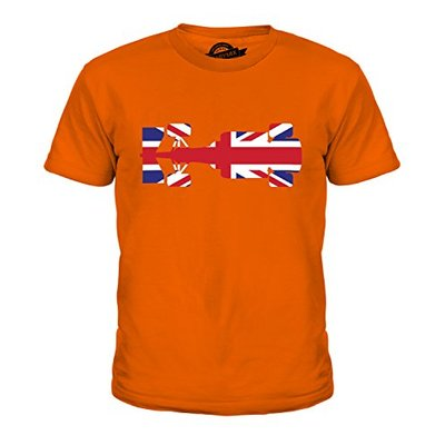 Candymix Great British F1 Unisex Kids T Shirt Boys/Girls/Toddler/Children T-Shirt, Age 10, Colour Orange