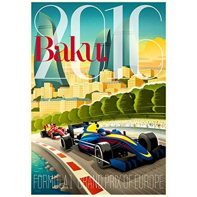 TS5 Design F1 Baku 2016 Retro Glossy Art Print 8×10 Formula 1 GP Grand Prix