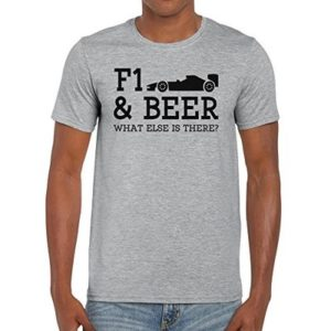 TeeDemon F1 and Beer What Else is There? – Funny – Mens Shirts – Men's Tshirt Casual T-Shirt Gift Sport Grey – L