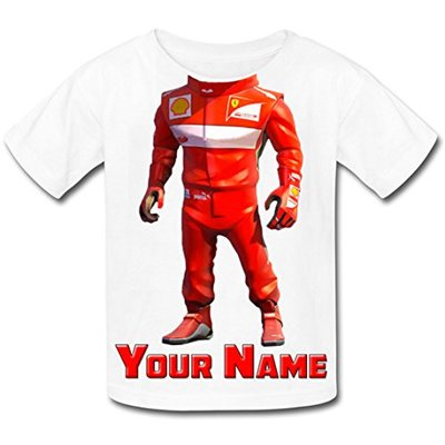 Babysmiles Personalised Racing Driver F1 Body Kids T-Shirt Age 9-10 Chest Size 81cm White