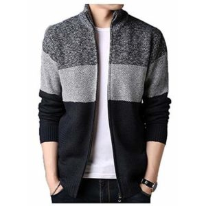 superS capsuleSXZS Fleece Padded Jacket Men's Collar Cardigan Jacket Loose Color-Block Sweater Warm Outerwear Dark Gray