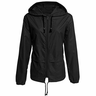 superS capsuleSXZS Women's Lightweight Zip Hoodie Waterproof Raincoat Outdoor Hiking Women's Jacket Jacket Top Black