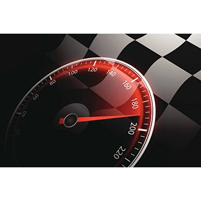 Chequered Flag and Speedometer Auto Racing Cool Wall Decor Art Print Poster 46×30