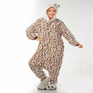 Unisex Pajamas Adult Animal Onesies Sale of Flannel Leopard Cartoon Conjoined Pajamas Autumn and Winter Men and Women Animal Home Clothes, JUSTTIME, Leopard Print, XL