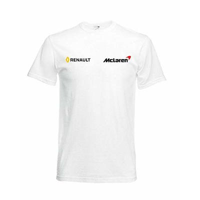 New McLaren Renault F1 Team T-Shirt Tee Alonso Fans Racing Driver Logo Men's USA White