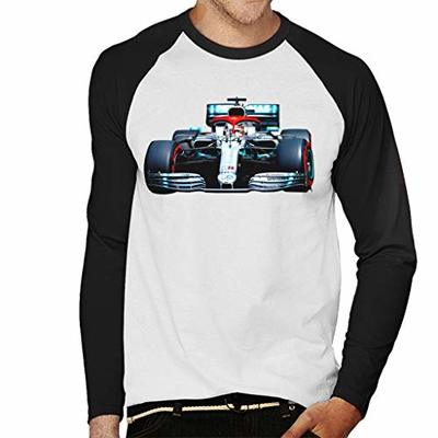 Motorsport Images Lewis Hamilton AMG F1 W10 Monte Carlo Men's Baseball Long Sleeved T-Shirt White/Black