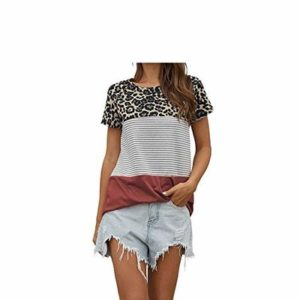 T-Shirt Women's Spring and Summer New Leopard Print Color Round Neck Short-Sleeved Plus Size Top Women Pink