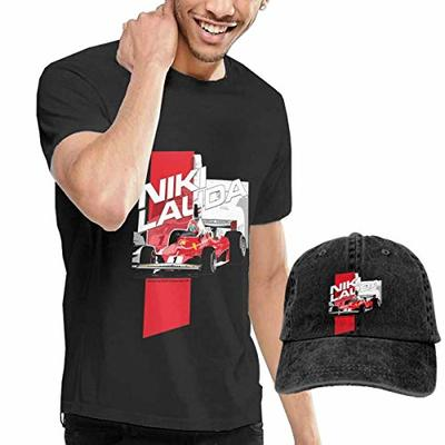 Thimd Niki Lauda F1 1976 Men's Short Sleeve T Shirt Baseball Cowboy Hat Set Black