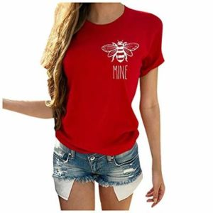 Hapae Summer Women Casual Simple T-Shirt Loose Short Sleeve O Neck Letter Print Heart-Shaped Top Comfortable Top