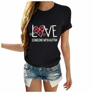 Hapae Women Casual Short Sleeve O Neck Letter Print Heart-Shaped Tops Casual Simple T-Shirt Comfortable Top T-Shirt