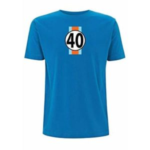 Gulf GT40 Men's T-Shirt Le Man's 24 Hour Race McQueen F1 Sport Classic Ford (Medium, Electric Blue)