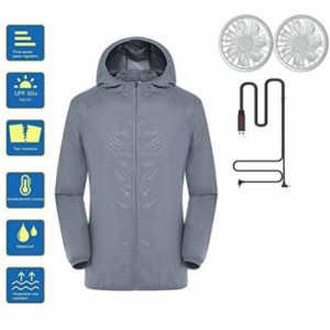 Naduew Air Conditioned Clothing UV Resistant Double Fan Jacket Unisex UV Sun Protection Long Sleeve Shirts, b, Medium