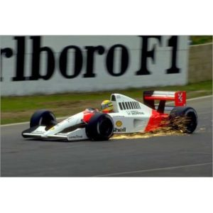 Posterlounge Foam board print 60 x 40 cm: Ayrton Senna, McLaren MP4-6 Honda, with sparks flying, 1991 by Motorsport Images