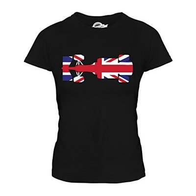Candymix – Great British F1 – Ladies Fitted T Shirt Top T-Shirt, Size 2X-Large, Colour Black