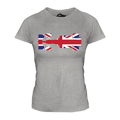Candymix – Great British F1 – Ladies Fitted T Shirt Top T-Shirt, Size Small, Colour Grey Marl