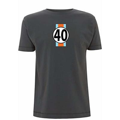 Gulf GT40 Men's T-Shirt Le Man's 24 Hour Race McQueen F1 Sport Classic Ford (Large, Grey)