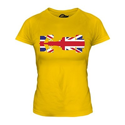 Candymix – Great British F1 – Ladies Fitted T Shirt Top T-Shirt, Size Medium, Colour Deep Yellow