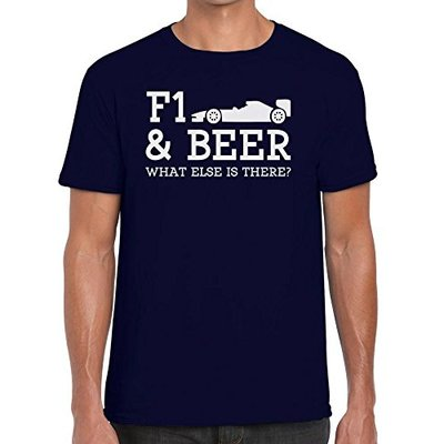 TeeDemon F1 and Beer What Else is There? – Funny – Mens Shirts – Men's Tshirt Casual T-Shirt Gift Navy Blue – M