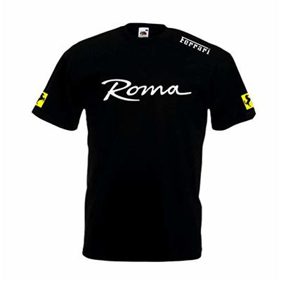T Republic Roma Supercar Super Premium T-Shirt 100% Cotton Sportscar Racing Motorsport Prancing Horse Italian F1 Car (Black, 2XL)