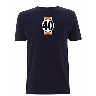 Gulf GT40 Men's T-Shirt Le Man's 24 Hour Race McQueen F1 Sport Classic Ford (Large, Navy Blue)