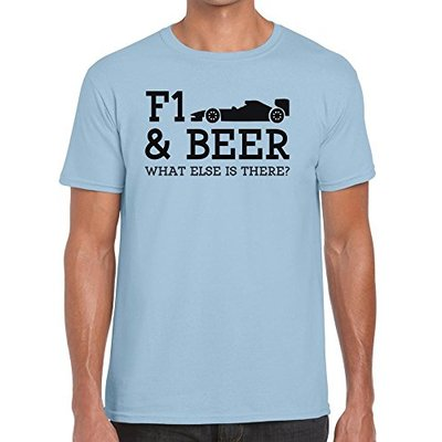 TeeDemon F1 and Beer What Else is There? – Funny – Mens Shirts – Men's Tshirt Casual T-Shirt Gift Sky Blue – S