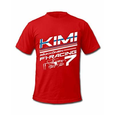 Cold Gun F1 Kimi Raikkonen 7 Iceman Grand Prix Formula One Racing Driver Finland Flag T-Shirt (Small, Red)