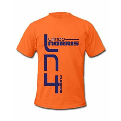 Cold Gun F1 Lando Norris LN4 Formula One Racing Driver T-Shirt (Small, Orange)