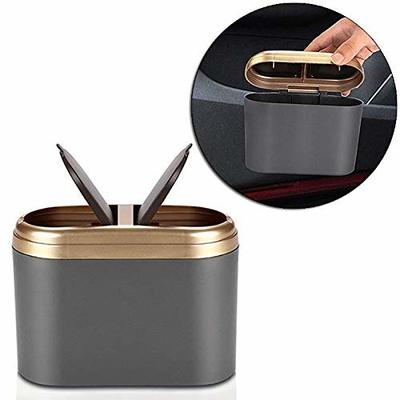 Thumby Vehicle Garbage Dust Case? Rubbish Holder Bin?Car Trash Can, Mini Car Trash Can, Double Lid Trash Can, 0.8L Car Trash Can,Gold
