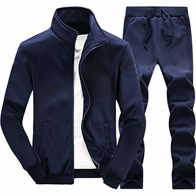 Autumn and Winter New Men's Jacket and Trousers Two-Piece Suit Solid Color Sports Jacket Casual Loose Trousers Sports Two-Piece Suit Navy Blue