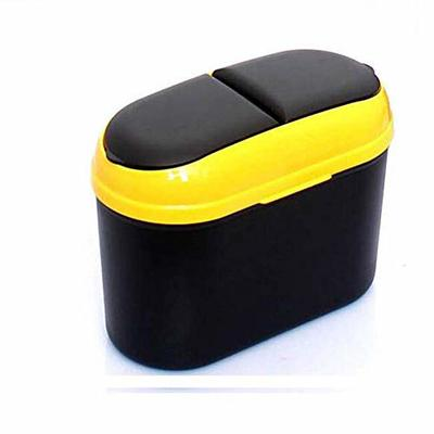 Thumby Vehicle Garbage Dust Case? Rubbish Holder Bin? Mini-Mini Car Trash Cans, Cans, Leak-Proof and Waterproof Trash Bags, Storage Bags with Double Lid Hooks,Yellow
