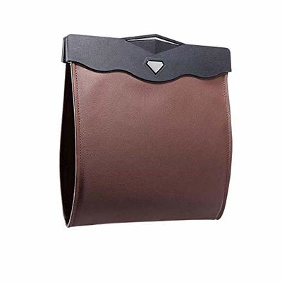 Thumby Vehicle Garbage Dust Case? Rubbish Holder Bin?Car Trash Can, Artificial Leather Storage Bag, Reusable Waterproof Trash Bag, Travel Portable Office Toilet Trash Can,Brown