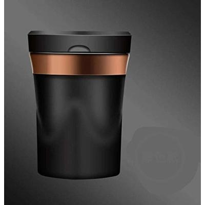 Thumby Vehicle Garbage Dust Case? Rubbish Holder Bin?Rechargeable Solar Car Led Ashtray Car Trash Can, Removable Cigarette Lighter Led Light, Black