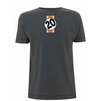 Le Mans Men's T-Shirt Steve McQueen Gulf Number 20 Car 917 F1 24 Racing Movie (X Large, Grey)