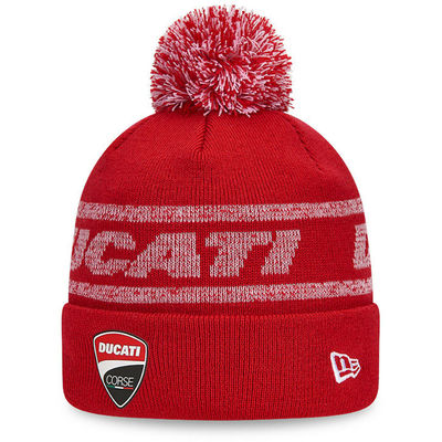 Ductai New Era Badge Knit Scarlet Bobble Hat