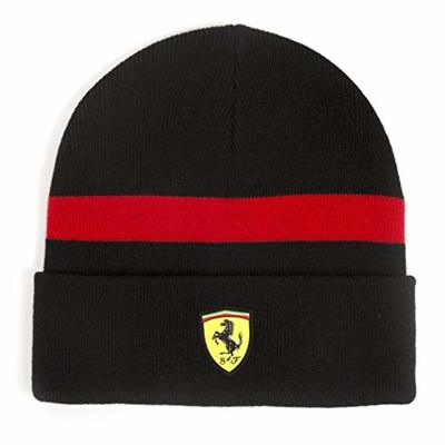 Ferrari 2018 Scuderia Beanie Hat BLACK Knitted Fabric for Winter – Adult Unisex