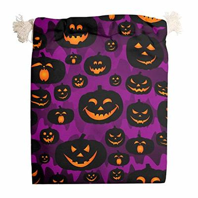 nanjingjin Halloween Pumpkin Purple Storage Bag Dustproof Personal and Daily Important Items Store Outdoor White 20 x 25 cm