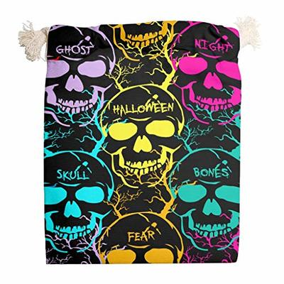 nanjingjin Halloween Skull Yellow Cotton Muslin Bag Breathable Personal and Daily Important Items Store Outdoor White 20 x 25 cm