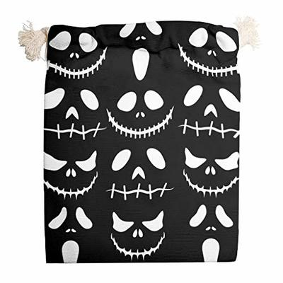 nanjingjin Halloween Smile Cotton Muslin Bag Dustproof Personal and Daily Important Items Storage for Bags White 20 x 25 cm