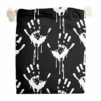 nanjingjin Halloween Hands Drawstring Bag Breathable Personal and Daily Important Items Storage Art & Craft Gifts White 12 x 18 cm