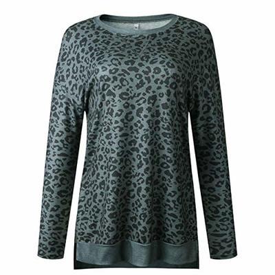 2020 Autumn and Winter Leopard Print Round Neck Irregular Long Sleeve Women's Top Sweatshirt