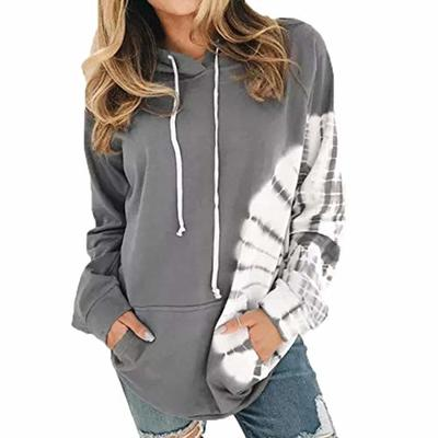 2020 Autumn and Winter New Loose Long-Sleeved Printed Hooded Sweater Ladies Tops Gray