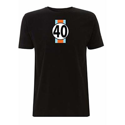 Gulf GT40 Men's T-Shirt Le Man's 24 Hour Race McQueen F1 Sport Classic Ford (Large, Black)
