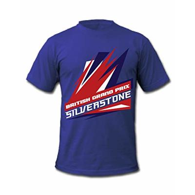 Cold Gun F1 Silverstone British Grand Prix Union Jack Flag Formula 1 Racing T-Shirt (Medium, Blue)