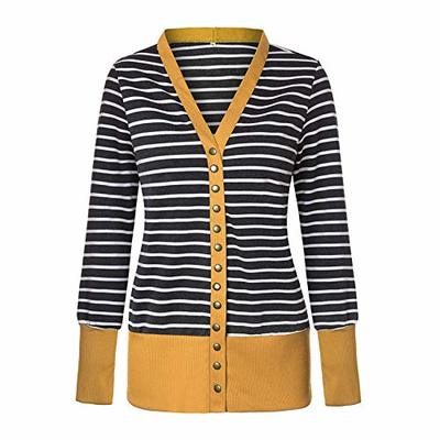 2020 Ladies Striped Print Stitching Mid-Length Long-Sleeved Single-Breasted Cardigan Jacket Yellow