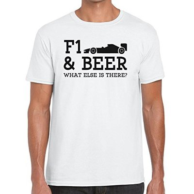 TeeDemon F1 and Beer What Else is There? – Funny – Mens Shirts – Men's Tshirt Casual T-Shirt Gift White – XXL
