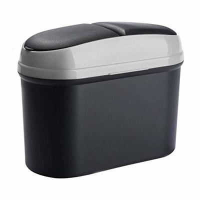 Thumby Vehicle Garbage Dust Case? Rubbish Holder Bin?Car Double Open Trash Can, Car Trash Can, Car Mini Can Trash Can, Trash Can, Box Rack Hook Plastic BucketGray